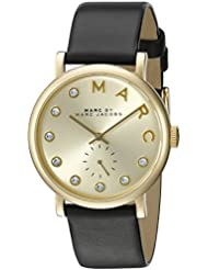 Marc by Marc Jacobs Womens MBM1399 Baker Gold-Tone Watch with Black Leather Band