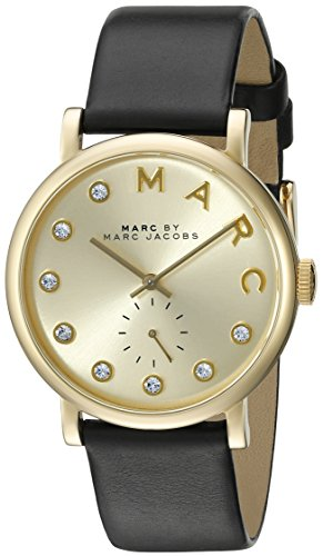 마크바이마크제이콥스 베이커 시계 검정 Marc by 마크 제이콥스 Marc Jacobs Womens MBM1399 Baker Gold-Tone Watch with Black Leather Band Black