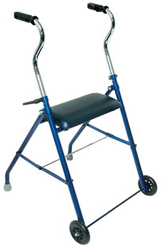DMI Adjustable Folding Steel Rollator Walker with Cushioned Seat, Royal Blue