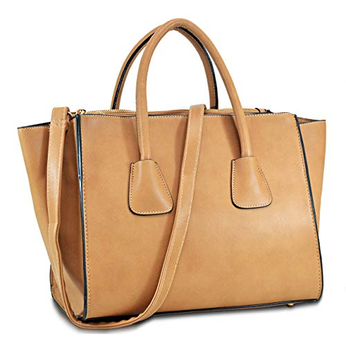 Leather Like Designer Tote Bag - Dasein Women Winged Handbags Designer Shoulder Bag Structured Tote Satchel Purses (brown)