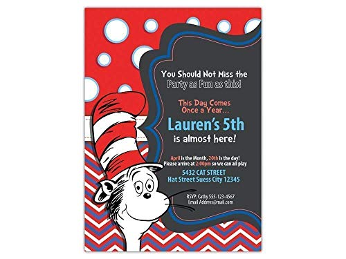 Custom Cat in the Hat Birthday Party Invitations