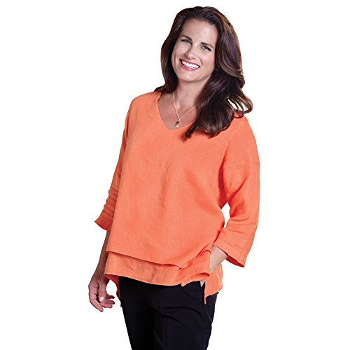 Women's Easy Fit Double Layer Garment Dyed Linen Tunic Top - 2X - -