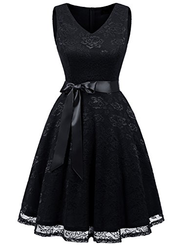 champagne and black lace bridesmaid dresses - 5
