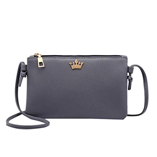 DARK Crown Leather Fashion Shoulder Messenger Coin Bafaretk Crossbody Bag GREY Bags Bags Women Solid Bznwq7