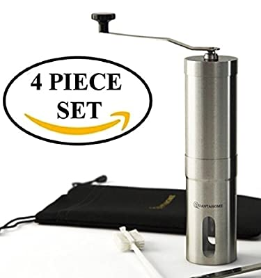 SALE NOW Quantahome Manual Coffee Grinder adjustable ceramic burr with Bag, Brush & Scoop. Stainless Steel-Best for perfect ground coffee, spices and herbs-Aero press compatible