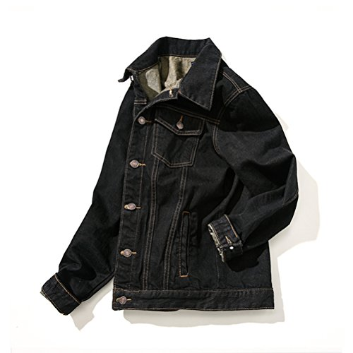 Casual Sleeve Mens Black Denim Zhhlaixing Basic Jackets Classico Outerwear Long 5qPnnEz