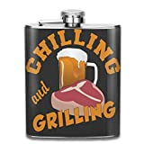 Chilling & Grilling Custom 7 Oz Printed Stainless Steel Hip Flask for Drinking