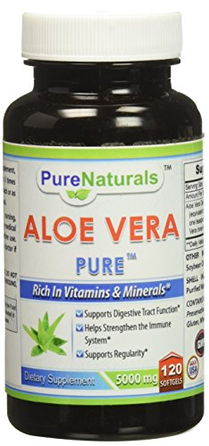 Pure Naturals Aloe Vera Softgels, 5000 mg, 120 Count