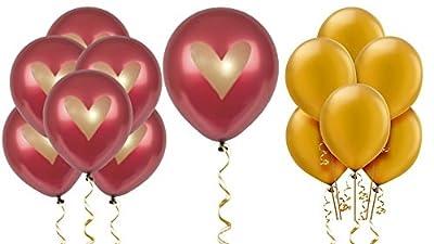 "Burgundy Balloons Party Decorations Supplies Wine Red Gold Ink Heart Love 12"" Latex Wedding Decoration Kit Proposal Valentine's Bridal Shower Bachelorette Celebration Anniversary Dark Maroon"