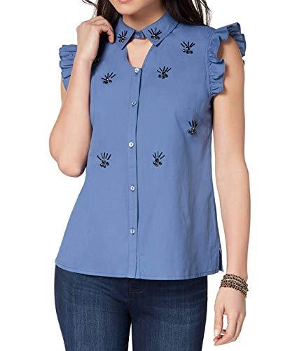 Embellished Bead Blouse (XOXO Women's Cotton Embellished Shirt)