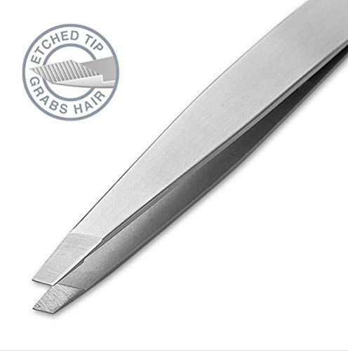 Regine Switzerland | Slant Tip Tweezers | 100% Handmade | Surgical Grade Stainless Steel | Professional Precision Eyebrow and Hair Remover | World's Best ()