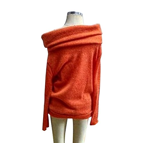 Pull Aelegant Orange Manches Tops Longues Sweater shirt Casual Femme T Automne aCwSxqZR