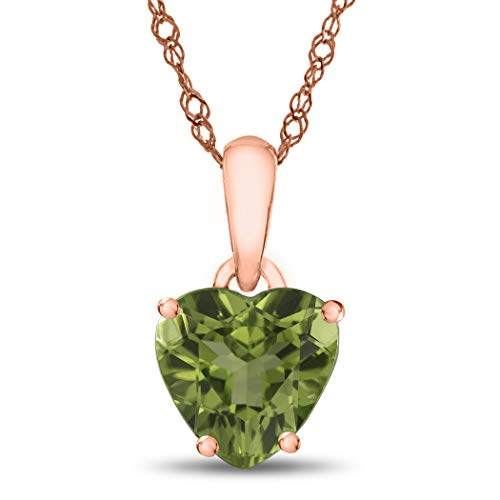 Finejewelers 10k Rose Gold 7mm Heart Shaped Peridot Pendant ()