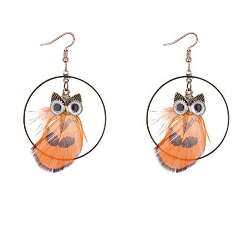 Paymenow Womens Girls Retro Owl Feather Hook Dangle Fashion Circle Drop Earrings Eardrop Jewelry (Orange)
