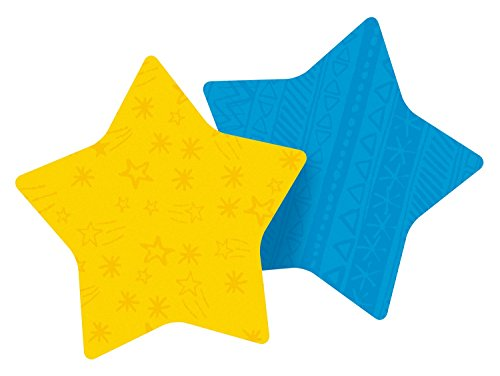 Post-it Notes, Super Sticky Pad, 2.9 x 2.8 Inch, Star Shape, Yellow and Blue with pattern, 2 Pads/Pack, 75 Sheets/Pad (7350-STR)