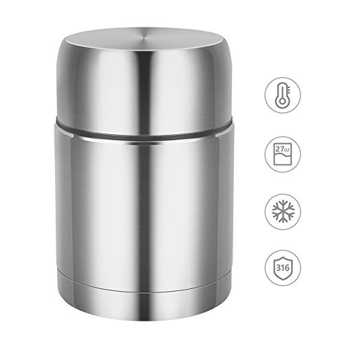 Food Jar,27 oz BPA Free Wide Mouth Soup Container,Stainless Steel Lunch Thermos for Hot Food,Leak Proof Double Wall Vacuum Insulated Soup Container,Thermos for School Lunches Thermal Food Flask for Ic