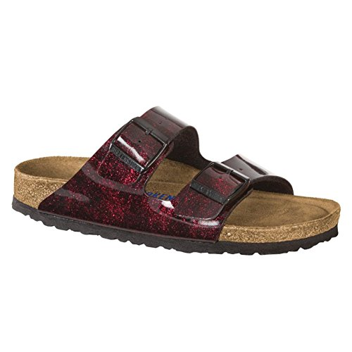 Birkenstock Arizona Soft Footbed Milky Way Red Birko-Flor Sandals 37 (US Women's 6-6.5) (Milky Flat Way)