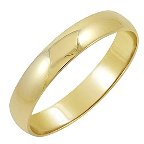 Men's 14K Yellow Gold 4mm Classic Fit Plain Wedding Band (Available Ring Sizes 8-12 1/2) Size 9 (Man Ring Gold 14k)