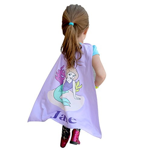 Personalized Kids Capes (Purple Mermaid), Superhero Costumes For Girls, Girls Princess Cape For Kids, Superhero Capes For Toddlers, Kids Dress Up Cape, Superhero Costumes Toddler, Microfiber Cape