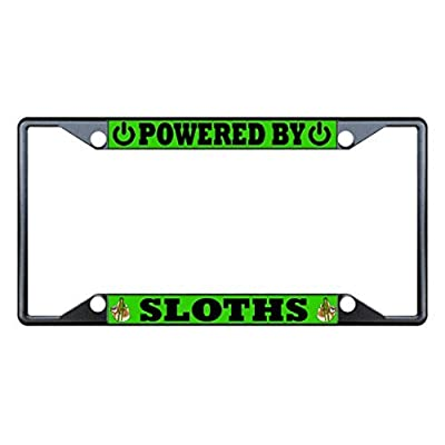 License Plate Covers Powered By Sloths Animal Black License Plate Frame Tag Holder Four Holes - Bobbit