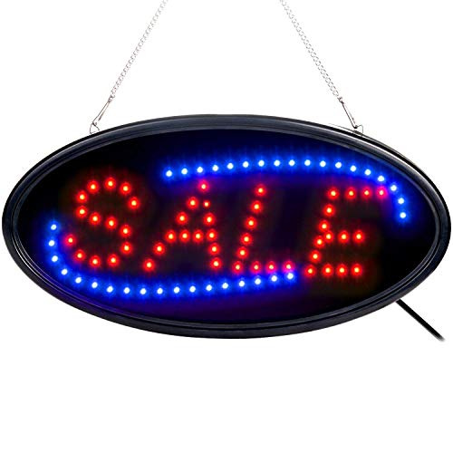 (Sale Sign, Fitnate LED Neon Window Sale Sign Bright Advertising Board Electric Lighted Display Sign - Two Modes Flashing & Steady Light for Business, Retail, Walls, Shop,Store, Bar, Hotel, Holiday)