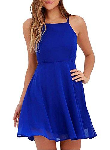 maniche con Smanicato Achicgirl sul incrocio abito senza retro e royal da donna blu HxIqngdwqX