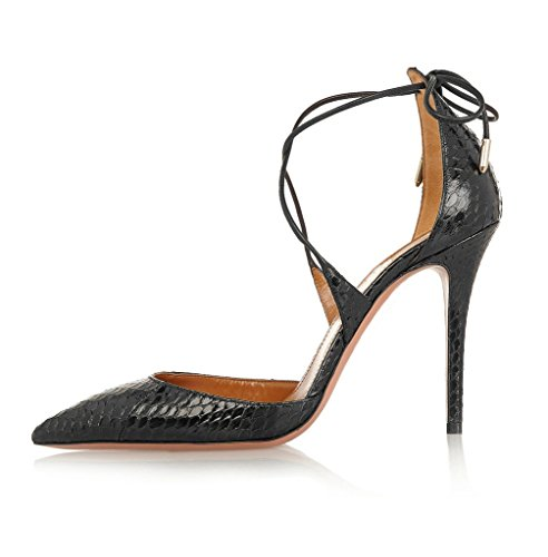 EDEFS Damen Pumps Stilettos High Heels Snake Optik Shoes Lace Up Schnürsenkel Schuhe Schlangenmuster Snake