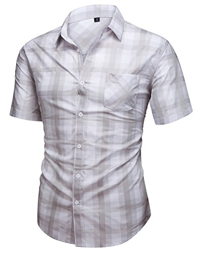 Men Comfortable Cotton Shirt (Hanmor Men's Casual Cotton Short Sleeve Plaid Western Button Down Dress Shirts Gray Large)