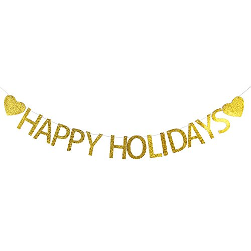 LOVELY BITON™ Gold Happy Holidays Letters Banner Decoration Kit Themed Party Banner for Birthday Wedding Showers Photo Props Window Decor ()