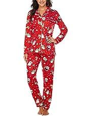 Ekouaer Sleepwear Womens Pajamas Set Long Sleeve Pjs Cotton Loungewear with Buttons XS-XXL