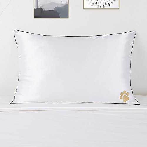 LilySilk Pure Silk Pillowcase Piping Luxury Real Pure 100 Mulberry Silk Chinese New Year Dog PAW Embroided