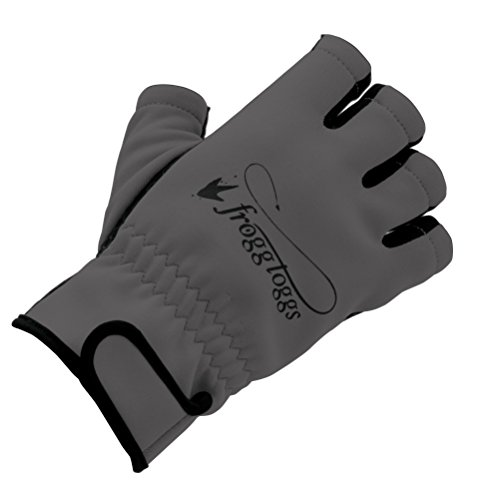 Frogg Toggs Frogg Fingers Fleece Gloves Without Fingers, Gray/Black, Size Large