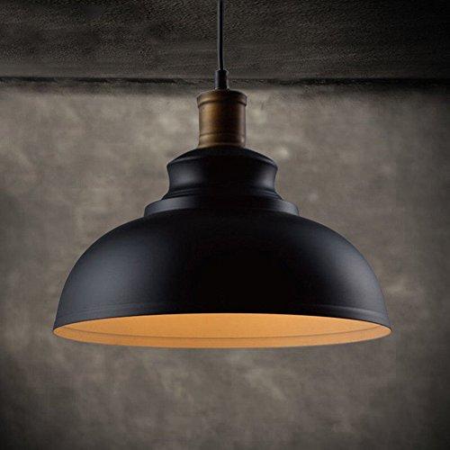 Vintage Pendant Lamp, Motent Industrial Retro Metal Dome/Bowl Hanging Light in Painted Finish, Antique Minimalist 1-Light Iron Wrought Island Lighting, 11.4