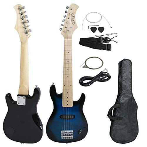 "ZENY 30"" Full Size Electric Guitar with Case and Accessories Pack Beginner Starter Package, Blue, Without Amp"
