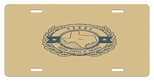 Texas License Plate by Lunarable, Grunge Retro Rubber Stamp with Name and Map of Texas United States of America, High Gloss Aluminum Novelty Plate, 5.88 L X 11.88 W Inches, - Names Grunge Boy