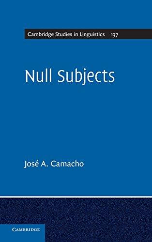 Null Subjects (Cambridge Studies in Linguistics)
