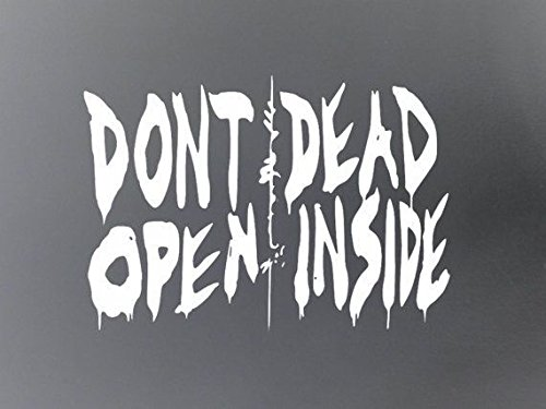 Walking Dead Dont Open Dead Inside WHITE Vinyl Car/Laptop/Window/Wall Decal -