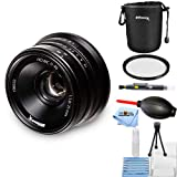 Ultimaxx 25mm f/1.8 Manual Lens for Sony E Mount (Nex) Starter Bundle with Lens Pouch, Uv Filter, Cleaning Pen, Blower, Microfiber Cloth & Cleaning Kit