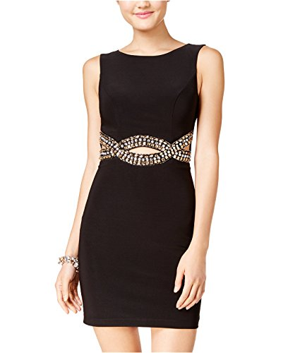 Bee Darlin B Darlin Juniors' Open-Back Rhinestone-Embellished Dress (Black, 9/10)