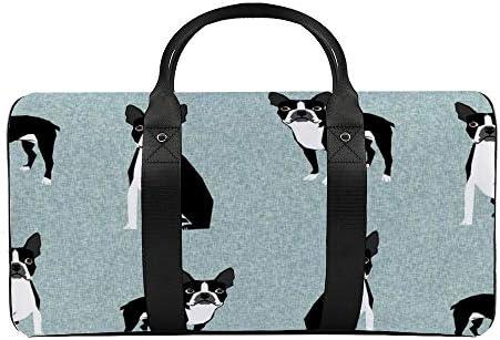 ボストンb犬1 旅行バッグナイロンハンドバッグ大容量軽量多機能荷物ポーチフィットネスバッグユニセックス旅行ビジネス通勤旅行スーツケースポーチ収納バッグ