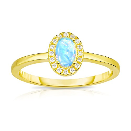 Unique Royal Jewelry 14K Yellow Gold Plated Sterling Silver Synthetic Opal with White Cubic Zirconia Halo Jacket Princess Diana Designer Ring. (9)