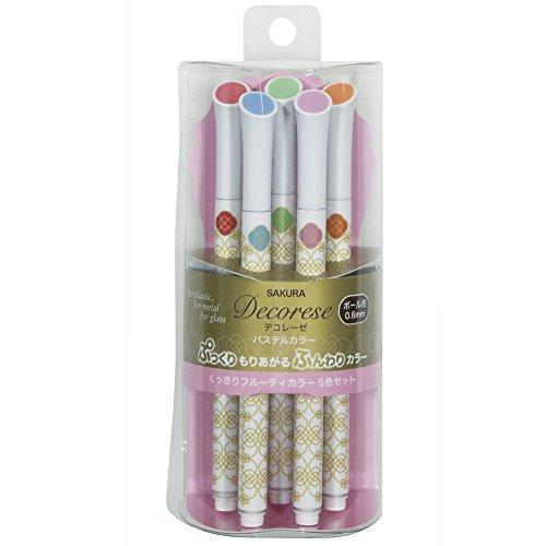 Sakura Ballpoint Pen for Decoration, Decorese Pastel 5 Color Set A, Fruity Color (DB206P5A)