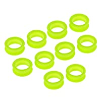 CUTICATE 10pcs Barber Hair Shears Scissors Finger Rings Grips Inserts, Soft Silicone Finger Inserts for Hair Trimming Scissors - Green