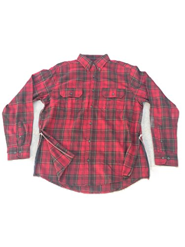 Red/Brown Fear of God Inspired Flannel w/ Side - Bieber Down Button Shirt Justin