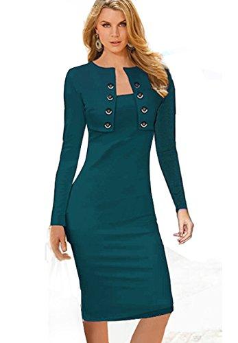 Wool Satin Sheath Dress (Merope J Womens Button Decor Long Sleeves Wrapped Midi Vogue Dress (4XL,)