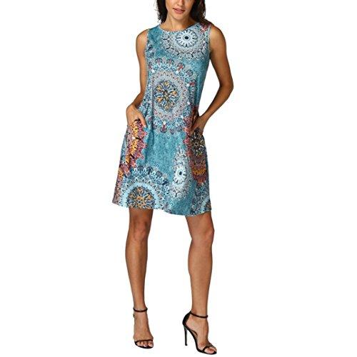 Womens Dress, 2018 New Women Sleeveless Vintage Boho Maxi Evening Party Beach Floral Dress by E-Scenery