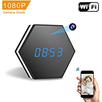 Mini Camera Clock-ENKLOV HD 1080P WiFi Smart Mirror Clock with Night Vision Two-Way Audio Motion Detection Colorful LED light,for Wall and Desk,Perfect Gift …