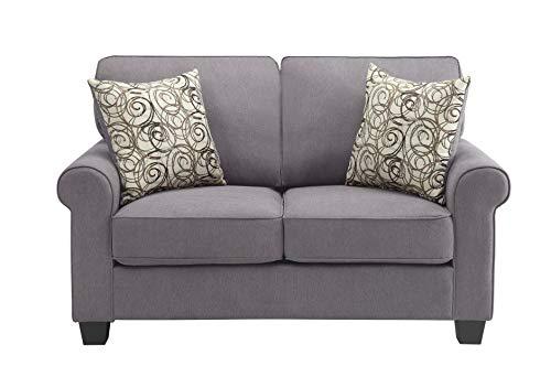 Polyester Upholstered Loveseat - Benzara BM180273 Polyester Upholstered Loveseat, Gray