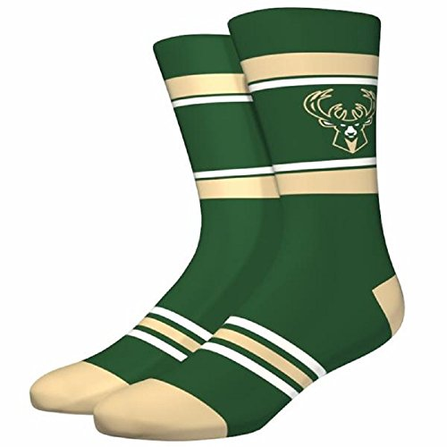 PKWY NBA Stripe Crew Socks (Several Teams Available) - Size Large Fits 6-12 (Milwaukee Bucks Green)