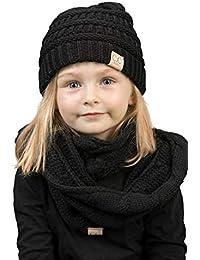 K1-3847-06 Kids Beanie & Scarf Bundle (NO pom): Solid Black